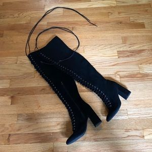 LACE UP KNEE LENGTH BOOTS BLACK